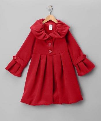 Red Lined Pleated Peacoat - Girls