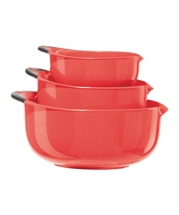 Red Oval Three-Piece Mixing Bowl Set