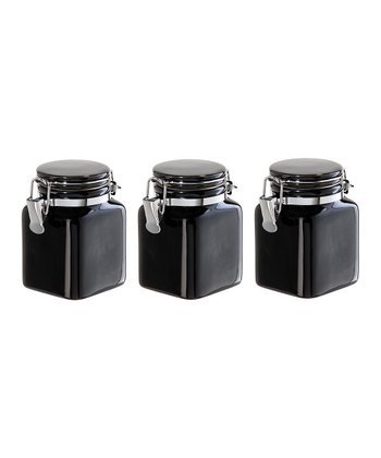 Black Mini Clamp Canister - Set of Three