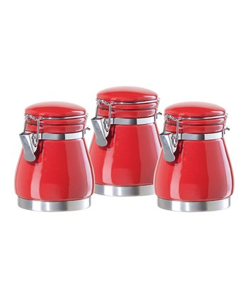 Red Airtight Canister - Set of Three