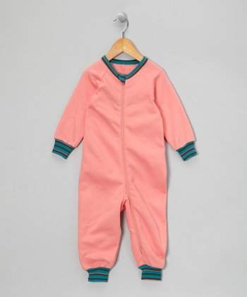 Coral & Turquoise Organic Playsuit - Infant