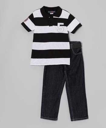 White & Navy Stripe Polo & Jeans - Infant & Toddler