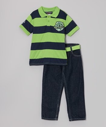 Green & Navy Stripe Crest Polo & Jeans - Infant & Toddler
