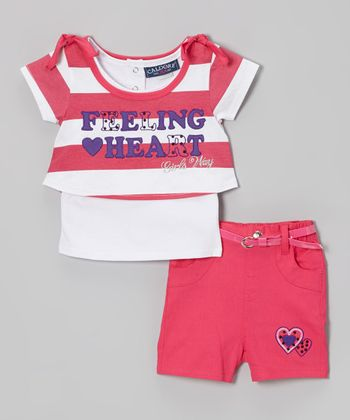 Fuchsia Stripe 'Feeling Heart' Top & Shorts - Infant & Girls