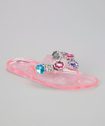 Chatties Light Pink Flower Rhinestone Jelly Sandal