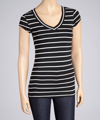 Black & White Stripe V-Neck Tee