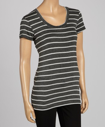 Charcoal & Heather Gray Stripe Scoop Neck Tee - Women