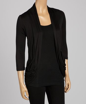 Black Lace-Back Open Cardigan - Women