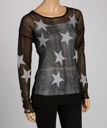 Black & Ivory Sheer Star Scoop Neck Top