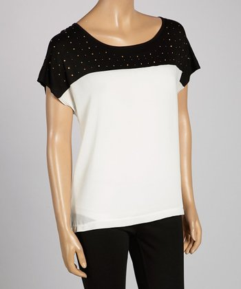Black & Ivory Studded Scoop Neck Top