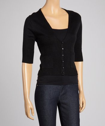 Black Three-Quarter Sleeve Cardigan