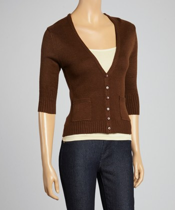 Brown Three-Quarter Sleeve Cardigan