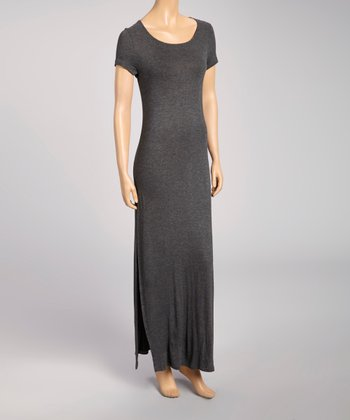 Charcoal Keyhole Scoop Neck Maxi Dress
