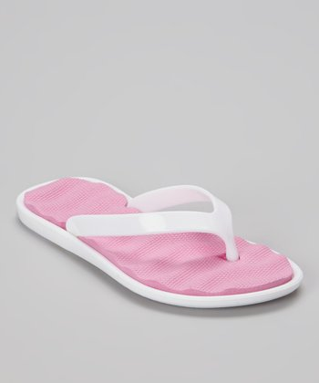 Chatties White & Light Pink Cushioned Flip-Flop