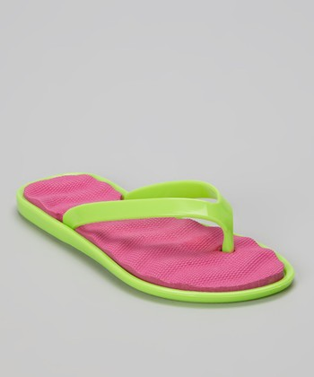 Chatties Lime & Fuchsia Cushioned Flip-Flop