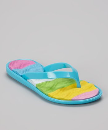 Chatties Turquoise Cushioned Flip-Flop