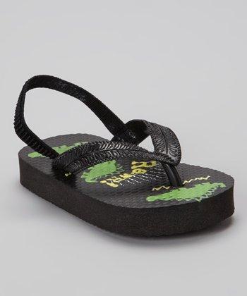 Chatties Black Dinosaur Flip-Flop