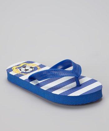 Empire White & Navy Stripe Soccer Flip-Flop