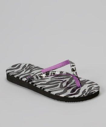 Chatties Silver & Purple Zebra Glitter Flip-Flop