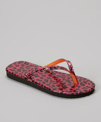 Chatties Pink Leopard Glitter Flip-Flop