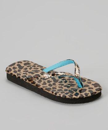 Chatties Gold Leopard Glitter Flip-Flop