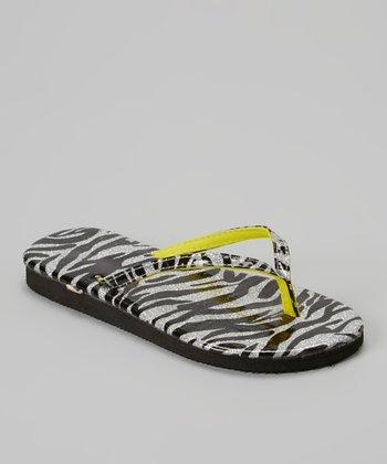 Chatties Silver & Citrus Zebra Glitter Flip-Flop