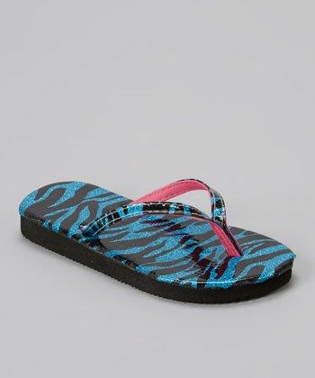 Chatties Turquoise Zebra Glitter Flip-Flop