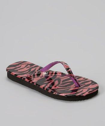 Chatties Fuchsia Zebra Glitter Flip-Flop