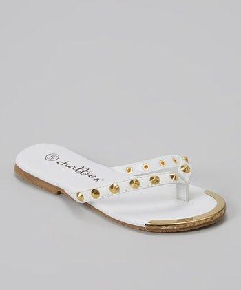 Chatties White Stud Flip-Flop