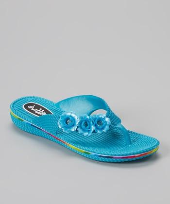 Chatties Turquoise Flower Flip-Flop