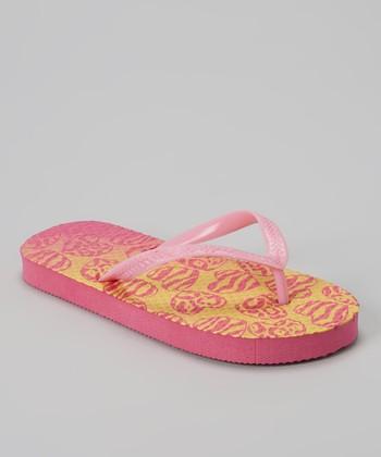 Chatties Light Pink & Yellow Zebra Hearts Flip-Flop