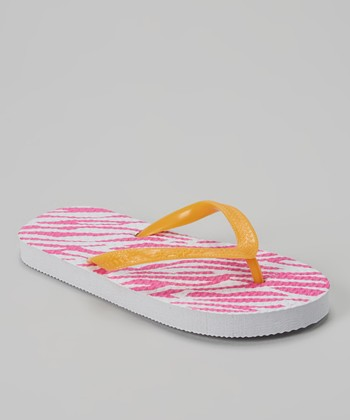 Orange & Fuchsia Zebra Flip-Flop