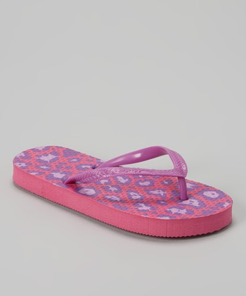 Chatties Purple & Fuchsia Leopard Flip-Flop