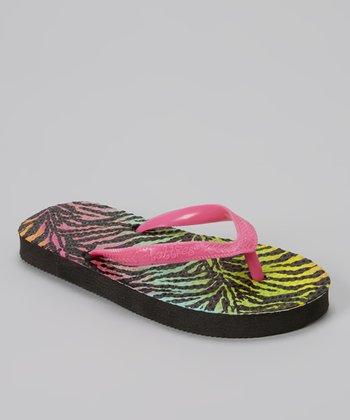Chatties Fuchsia & Black Zebra Flip-Flop