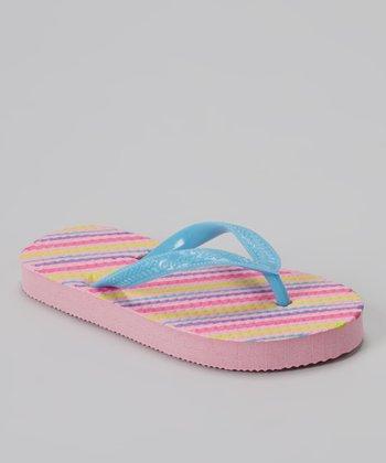 Chatties Turquoise & Pink Stripe Flip-Flop