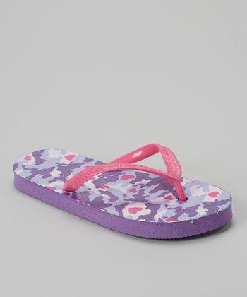 Chatties Fuchsia & Purple Camo Flip-Flop