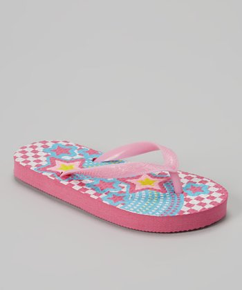Chatties Light Pink & Blue Star Flip-Flop