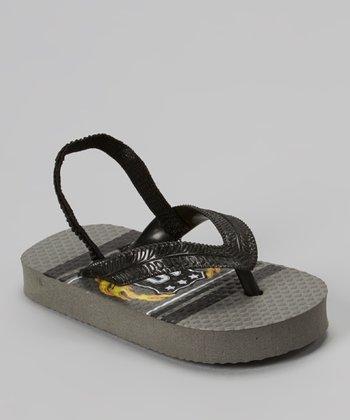 Chatties Gray & Black Flame Crest Sandal