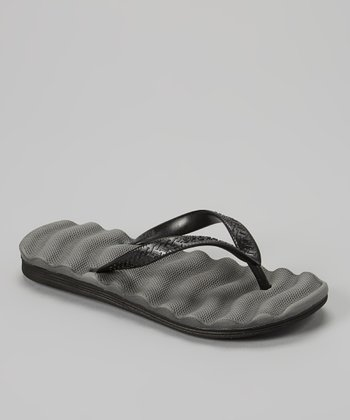 Empire Gray & Black Cushion Flip-Flop