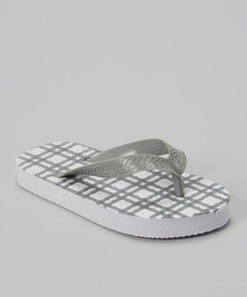 Empire White & Gray Plaid Flip-Flop