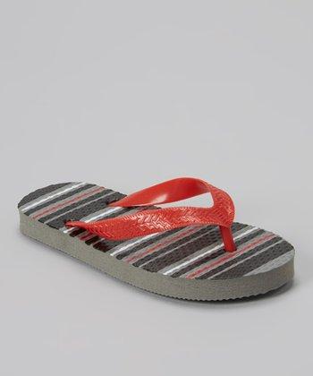 Empire Gray & Red Stripe Flip-Flop