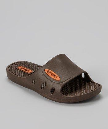 Shocked Brown & Orange Comfort Sport Slide