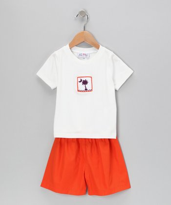 White Palm Tee & Orange Shorts - Infant & Toddler