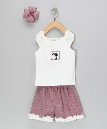 White & Garnet Gingham Shorts Set - Infant, Toddler & Girls