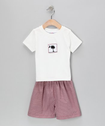 White Palm Tee & Garnet Gingham Shorts - Infant & Toddler
