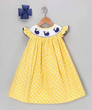 Yellow Polka Dot Whale Dress & Bow - Infant, Toddler & Girls