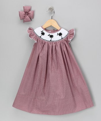 Garnet Palm Dress & Bow Clip - Girls