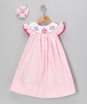 Light Pink Castle Dress & Bow Clip - Infant, Toddler & Girls