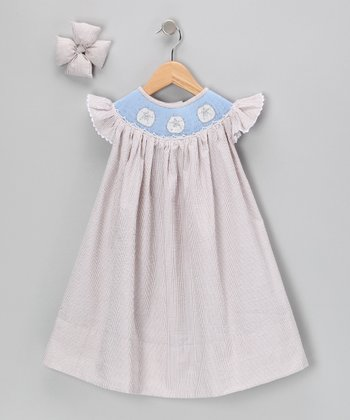 Brown Sand Dollar Dress & Bow Clip - Girls