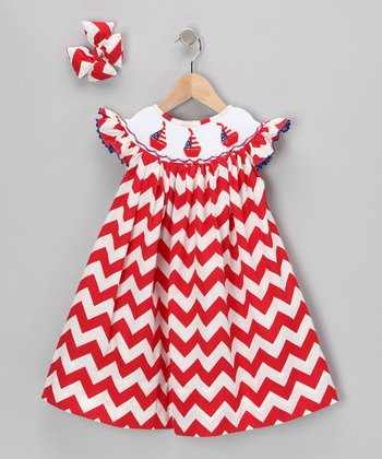 Red Sailboat Zigzag Dress & Bow - Infant